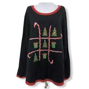 Karen Scott NWT Christmas Sweater Tic Tac Toe L/S